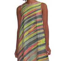 orange yellow and green streaks A-Line Dress