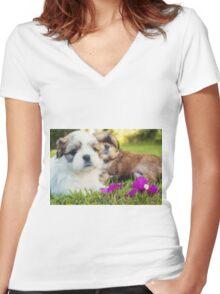 Shitzu Dog Women's Fitted V-Neck T-Shirt