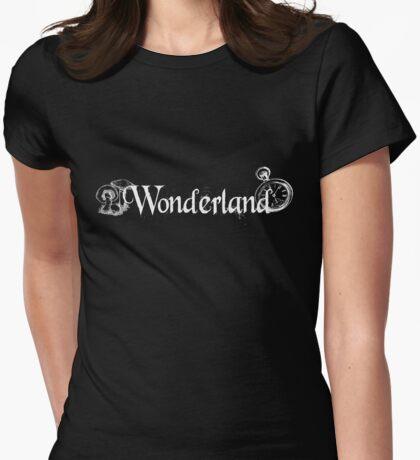 Wonderland - White Womens Fitted T-Shirt