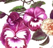 Pansies and Peonies on Ecru Sticker