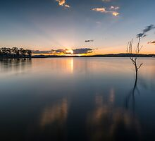 Sun rays over Lake Samsonvale by McguiganVisuals