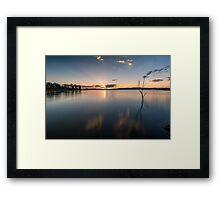 Sun rays over Lake Samsonvale Framed Print