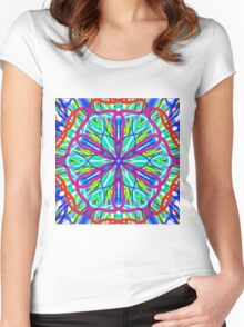 Mandala On White With Blue Pink And Red Women's Fitted Scoop T-Shirt