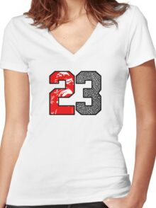23 Cement Women's Fitted V-Neck T-Shirt