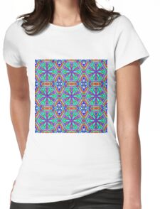 Mandala On White With Blue Pink And Red - Tiled Womens Fitted T-Shirt