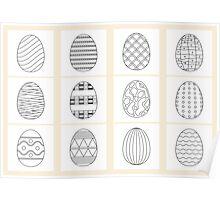 black white easter eggs  Poster