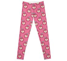 Pink Apple Heart Pattern Leggings