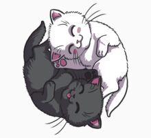 Kitten Kitty Yin Yang black and white sleeping circle One Piece - Short Sleeve