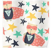 Super Hero Bear in Cape With Stars Poster