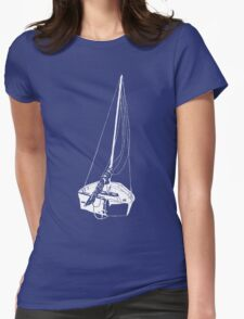 Sailboat (White) Womens Fitted T-Shirt