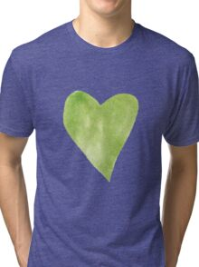 Green Watercolor Heart Tri-blend T-Shirt