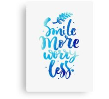 Smile Don't Worry Typography Quote Canvas Print