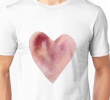 Pink Red Watercolor Heart Unisex T-Shirt