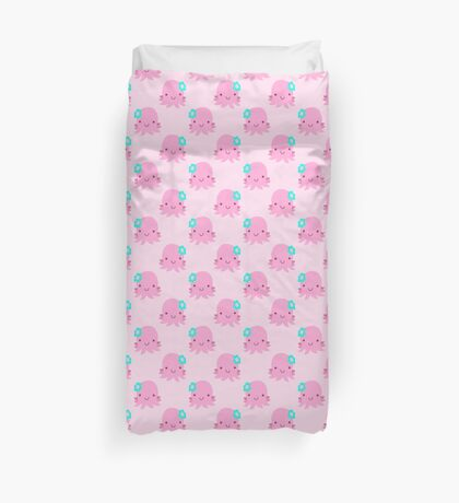 Pink Flower Octopus Pattern Duvet Cover