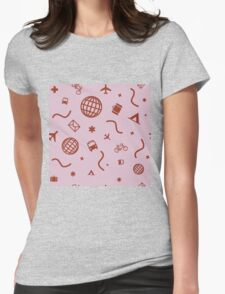 Cityicons Postmodern Travel Print - Lilac/Rust Womens Fitted T-Shirt