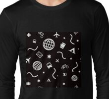 Cityicons Postmodern Travel Print - Black/White Long Sleeve T-Shirt