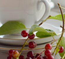 Still life with wild cherries Sticker