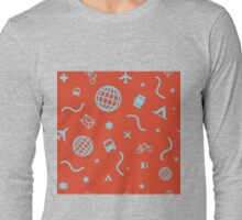 Cityicons Postmodern Travel Print - Airline Orange/Blue Long Sleeve T-Shirt