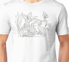 black white butterfly floral  Unisex T-Shirt