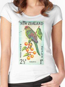 New Zealand Bird Print Women's Fitted Scoop T-Shirt