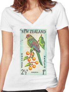New Zealand Bird Print Women's Fitted V-Neck T-Shirt