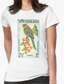 New Zealand Bird Print Womens Fitted T-Shirt