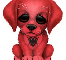 Cute Patriotic Albanian Flag Puppy Dog by Jeff Bartels