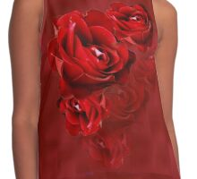 Romantic Red Rose Blossoms Contrast Tank