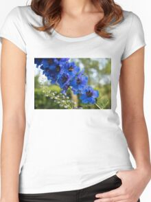Sapphire Blues and Pale Greens - a Showy Delphinium Women's Fitted Scoop T-Shirt