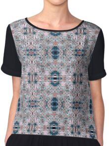 Pink and Blue Abstract Geometric Tile Chiffon Top