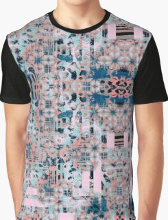 Pink and Blue Abstract Geometric Tile Graphic T-Shirt