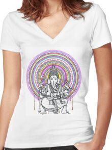 Lord Ganesh Mandala Women's Fitted V-Neck T-Shirt