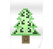 Green Pixel Tree Poster