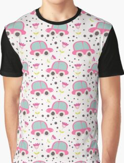 Whimsical Pink Cars, Flowers, Polka Dots Graphic T-Shirt