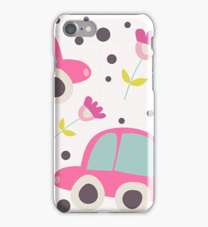 Whimsical Pink Cars, Flowers, Polka Dots iPhone Case/Skin