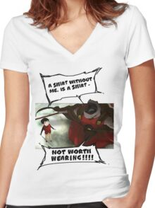 Rak - Tower of God - 'A shirt without me, is a shirt not worth wearing!!!!' Women's Fitted V-Neck T-Shirt
