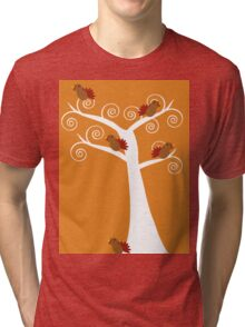 Five Thanksgiving Turkeys in a Tree Tri-blend T-Shirt