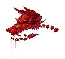 Blood Crystal Werewolf Skull - White BG Photographic Print