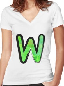 Watercolor - W - green Women's Fitted V-Neck T-Shirt