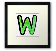 Watercolor - W - green Framed Print