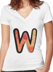 Watercolor - W - orange Women's Fitted V-Neck T-Shirt