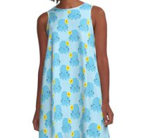 Blue Flower Octopus Pattern A-Line Dress