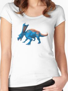 Blue Chasmosaurus Digital Painting Women's Fitted Scoop T-Shirt