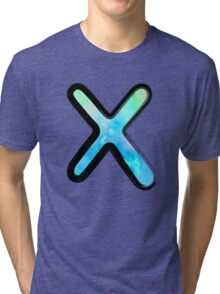 Watercolor - X - blue Tri-blend T-Shirt