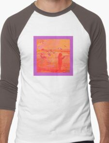 Girl and Seagulls Abstracted in Neon Colors Men's Baseball ¾ T-Shirt