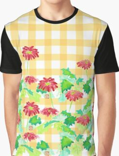 Watercolor Red Gerbera Gingham Yellow Weave Pattern Graphic T-Shirt