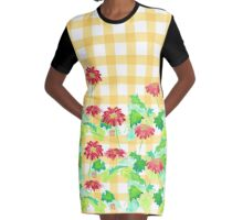 Watercolor Red Gerbera Gingham Yellow Weave Pattern Graphic T-Shirt Dress