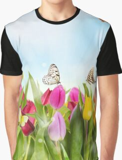 Tulips and Butterflies Graphic T-Shirt