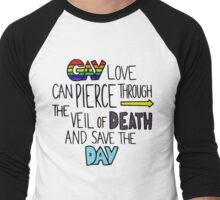 "Ghostfacers ""Gay Love"" Quote Men's Baseball ¾ T-Shirt"