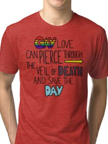 "Ghostfacers ""Gay Love"" Quote Tri-blend T-Shirt"